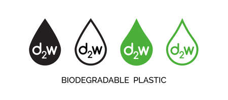 Vector set of biodegradable plastic icons. D2w different signs