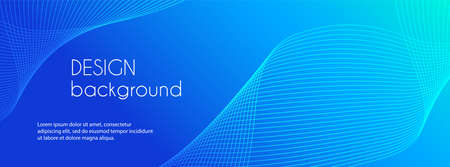 Abstract blue long vector banner. Wavy minimal trendy background for business presentations, web header design