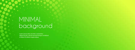 Abstract green gradient vector banner. Halftone dotted minimal contemporary long background Illustration
