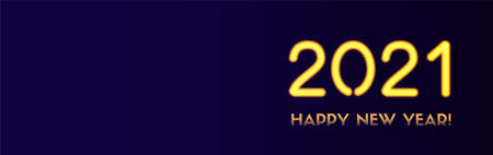 2021 Happy New Year vector long banner. Golden 2021 numbers on a dark background. Holiday header for social media