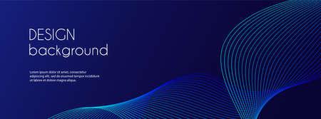 Abstract dark blue banner template. Vector minimal wavy line background