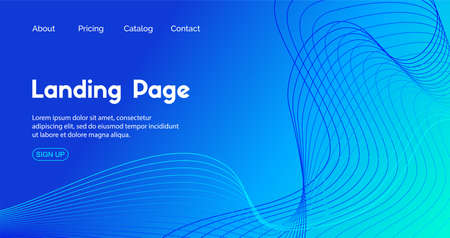 Blue landing page vector template. Abstract dynamic wavy line minimal trendy background Illustration