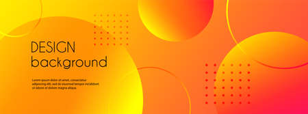 Abstract trendy vector banner with 3d spheres. Bright orange background Illustration