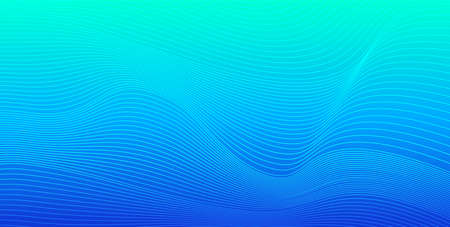 Turquoise blue gradient abstract vector background with dynamic wavy lines. Backdrop for banners, presentations, covers Illustration