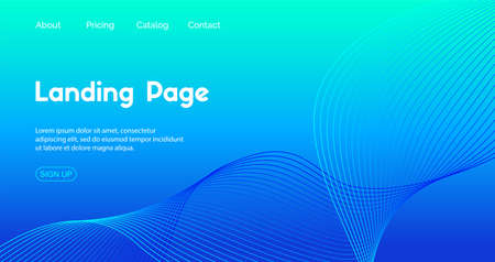 Landing page vector template. Abstract blue gradient background with wavy line for business web site design Illustration