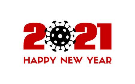 2021 Happy New Year vector greeting card with coronavirus sign. Quarantine holidays Illustration