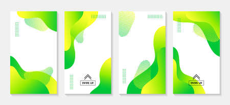 Green liquid stories vector templates. Abstract vertical wavy backgrounds for social media