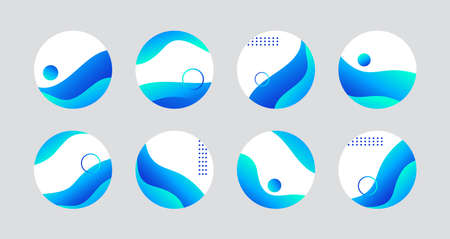 Blue liquid highlight story cover icons for social media. Vector abstract circle icons for highlights