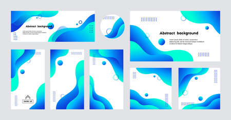 Social media stories, posts, cover, banner, templates. Abstract blue liquid trendy vector backgrounds with copy space