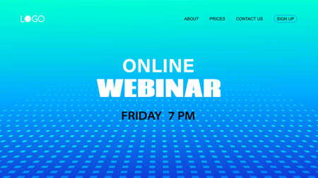 Webinar vector template. Abstract blue halftone dotted minimal background. Mock up for busines conference announcement Illustration