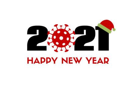 Happy New 2021 Year. Vector greeting card with coronavirus icon and santa hat. Covid-19 quarantine holidays