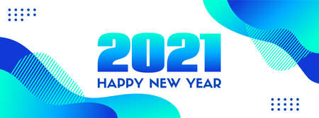 2021 Happy New Year. Abstract blue long vector banner. Trendy liquid fluid blue shapes on a white background Illustration