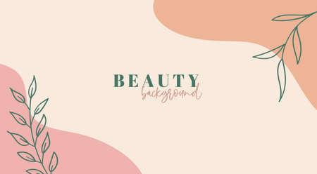 Beauty background. Abstract trendy organic minimal template. Vector floral backdrop with copy space for text Illustration