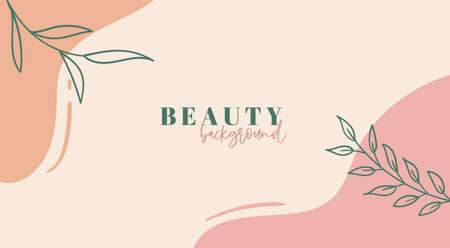 Abstract background in pastel colors. Trendy organic minimal template. Vector floral beauty backdrop Illustration