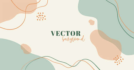 Abstract minimal organic vector background in pastel colors with copy space for text.