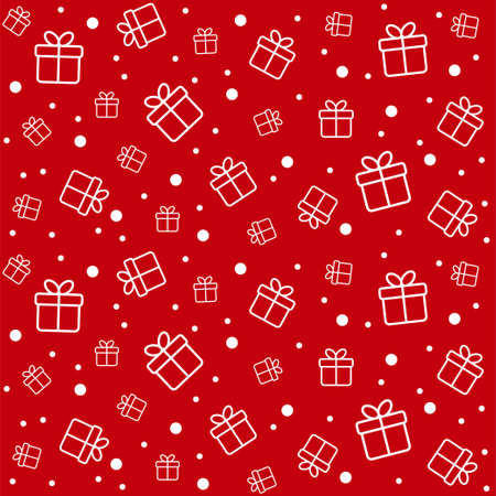 Christmas vector seamless pattern with gift boxes. Minimal red background for Christmas decorations, greeting cards, wrapping paper