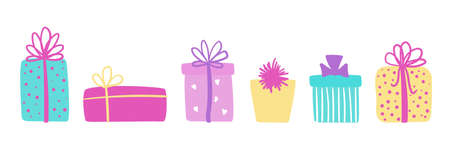 Set of colorful hand drawn gift boxes. Vector long banner with presents for Christmas or birthday greetings