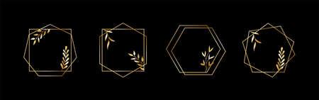 Golden geometric vector frames with leaves. Thin line haxagon borders for luxury premium design Illusztráció