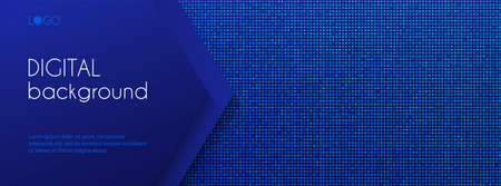 Digital long banner template. Abstract vector dark blue dotted background with copy space for text.  cover, web banner, header