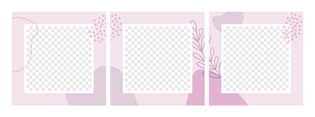 Vector set of abstract floral seamless backgrounds for social media posts. Minimal square templates with place for photos