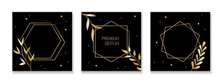 Dark vector backgrounds for social media posts with golden frames and leaves. Luxury design templates