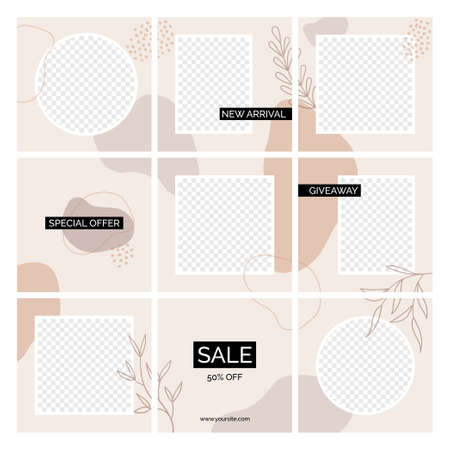 seamless posts vector templates. Abstract organic shapes backgrounds with place for text, photos. Social media blog minimal design