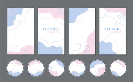 Abstract pink blue organic shapes vector backgrounds and highlights icons for stories, social media templates