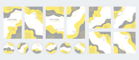 Social media stories, posts, highlights templates. Abstract yellow gray organic shapes backgrounds with copy space for text