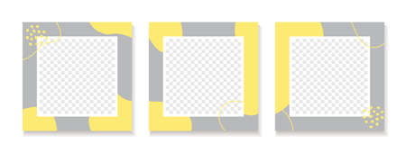 Abstract organic yellow gray backgrounds   social media posts. Set of vector trendy square templates with place for photo