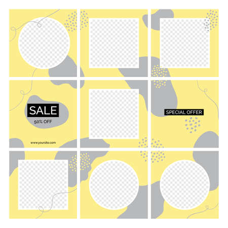 Seamless posts vector templates for social media blog. Abstract yellow gray organic shapes backgrounds with place for text, photos
