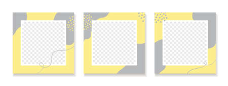 Vector abstract templates for social media posts. Set of trendy minimal square backgrounds with place for photo