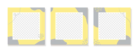 Abstract yellow gray backgrounds for  social media posts. Set of vector trendy minimal square templates with place for photo Illusztráció