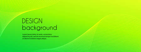 Abstract green long vector banner. Wavy minimal trendy background for cover, web header template