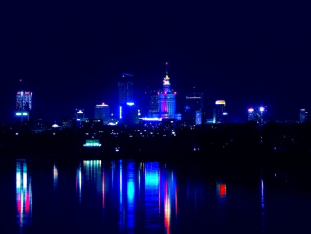 Warsaw by night photo