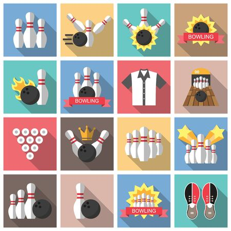 bolos: Bowling iconos planos con sombra.