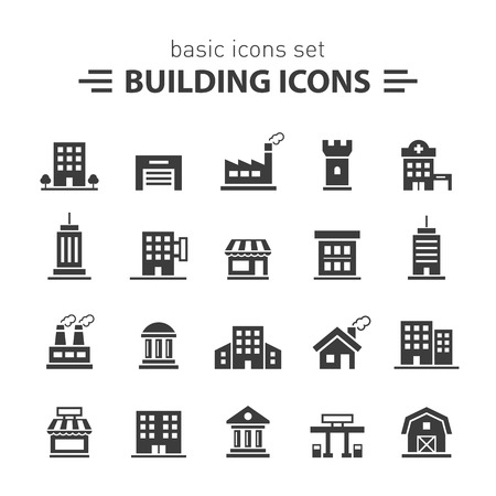 garage on house: Building icons set.