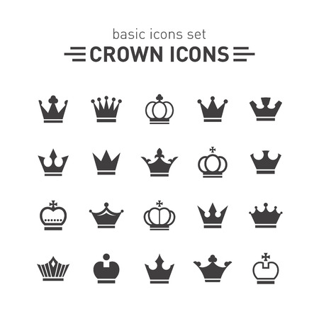 crown: Crown icons set. Illustration
