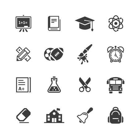 School iconen set. Stock Illustratie
