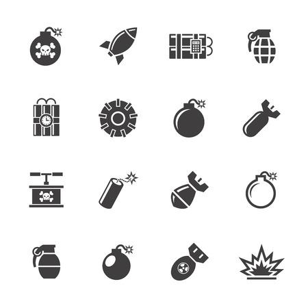 bomb: Bomb icons set.
