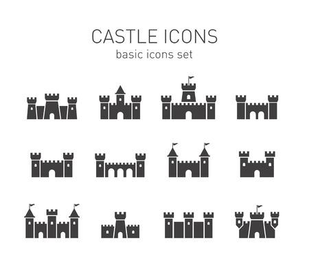castillos de princesas: Iconos Castillo establecen. Vectores