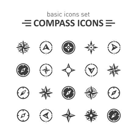 bussola: Icone Compass set.