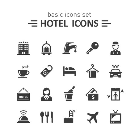 albergo: Icone Hotel set.