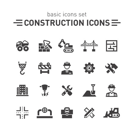 excavator: Construction icons.