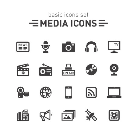 Media icons. Vectores