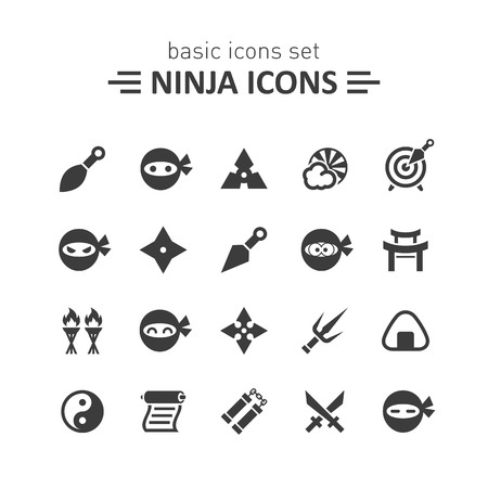 asian children: Ninja icons. Illustration