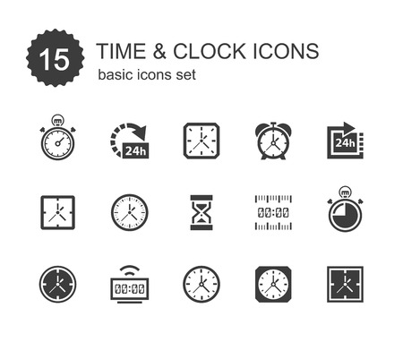 time: Time and clock icons.