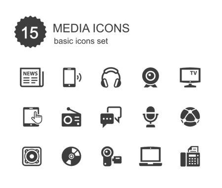 medios de comunicacion: Iconos de los media.