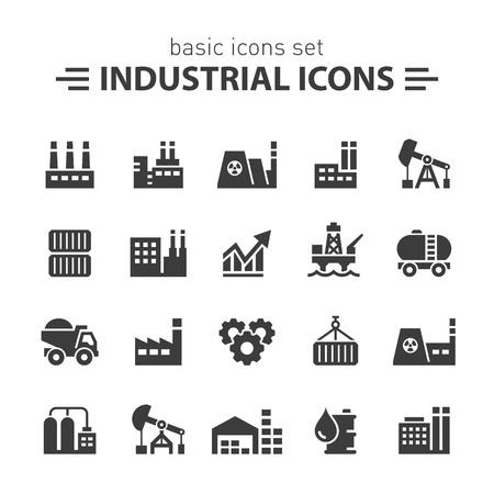 edificio industrial: Iconos industriales. Vectores
