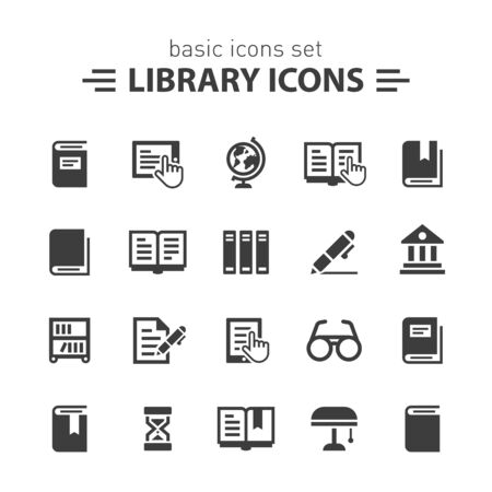 writes: Library icons. Illustration