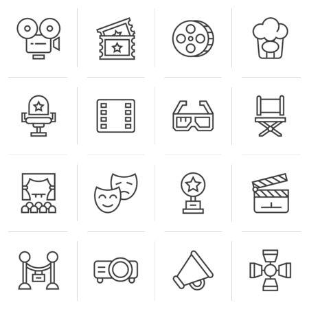 entertainment: Cinema icons. Illustration